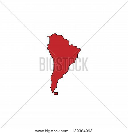 South america map. Red flat simple modern illustration icon with stroke. Collection concept vector pictogram for infographic project and logo
