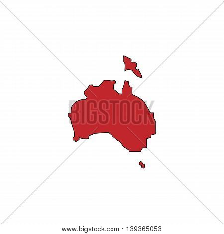 Australia map. Red flat simple modern illustration icon with stroke. Collection concept vector pictogram for infographic project and logo