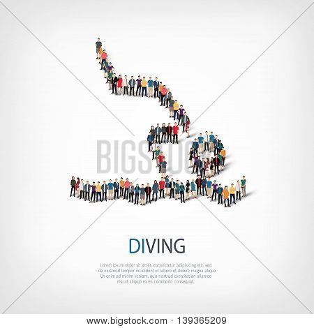 Isometric set of styles, people, sports, diving , web infographics concept  illustration of a crowded square, flat 3d. Crowd point group forming a predetermined shape. Creative people.