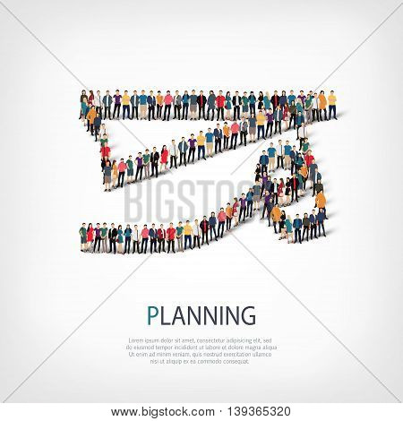 Isometric set of styles, people, sports, planning , web infographics concept  illustration of a crowded square, flat 3d. Crowd point group forming a predetermined shape. Creative people.