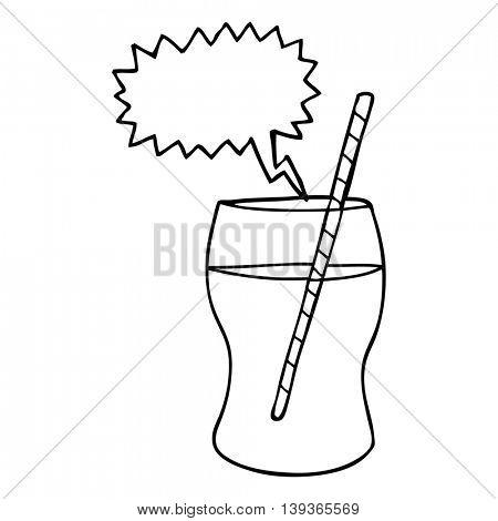 freehand drawn speech bubble cartoon fizzy drink