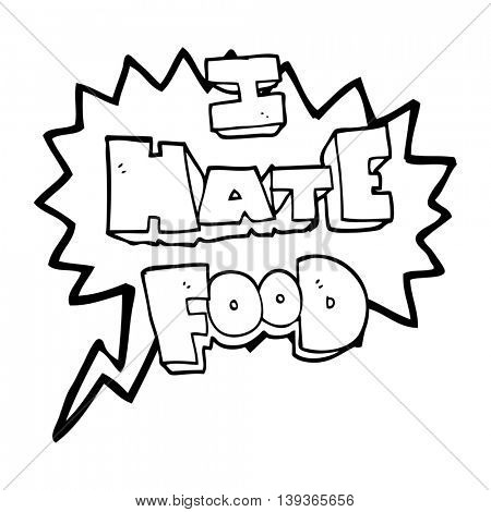 freehand drawn speech bubble cartoon i hate food symbol