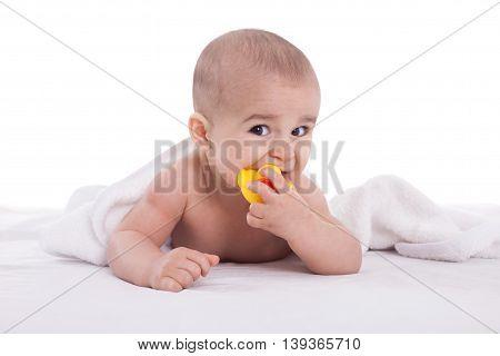 Joyfull Baby Child After Bath Time Isoalted On White