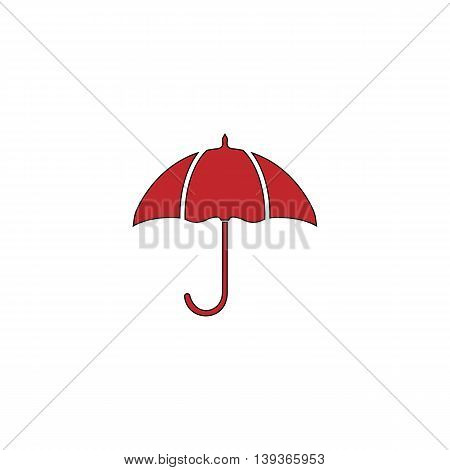 Umbrella. Red flat simple modern illustration icon with stroke. Collection concept vector pictogram for infographic project and logo
