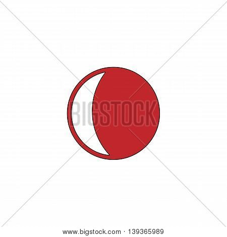 Moon. Red flat simple modern illustration icon with stroke. Collection concept vector pictogram for infographic project and logo