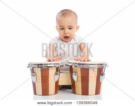 Beautiful Funny Baby Child Playing Drums And Singing