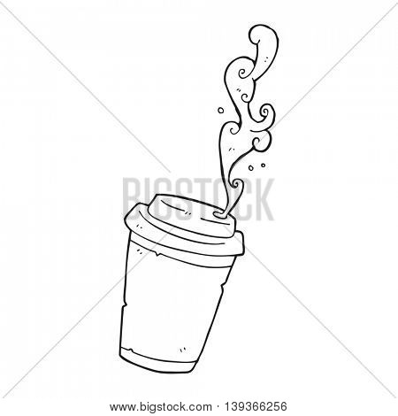freehand drawn black and white cartoon take out coffee