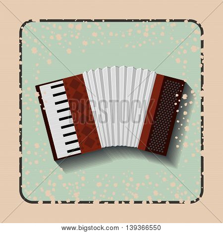 accordion instrument over retro background isolated icon design, vector illustration  graphic