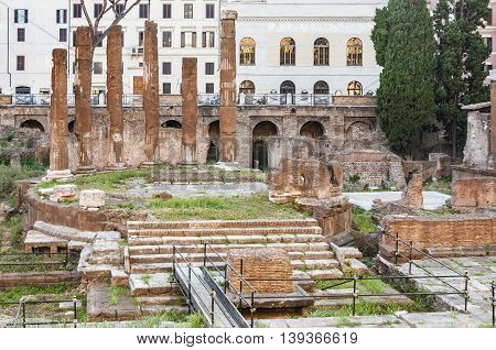 ROME - JUNE 01: roman temple ruins in the so-called Area Sacra on June 01, 2014 in Rome. Italy