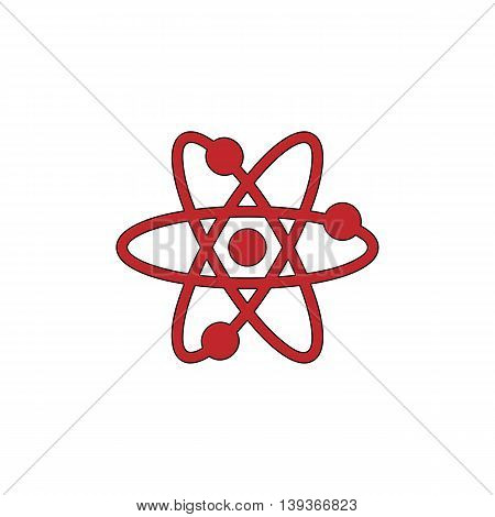 Atom. Red flat simple modern illustration icon with stroke. Collection concept vector pictogram for infographic project and logo
