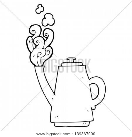 freehand drawn black and white cartoon steaming coffee kettle