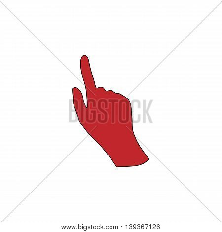 Cursor hand. Red flat simple modern illustration icon with stroke. Collection concept vector pictogram for infographic project and logo