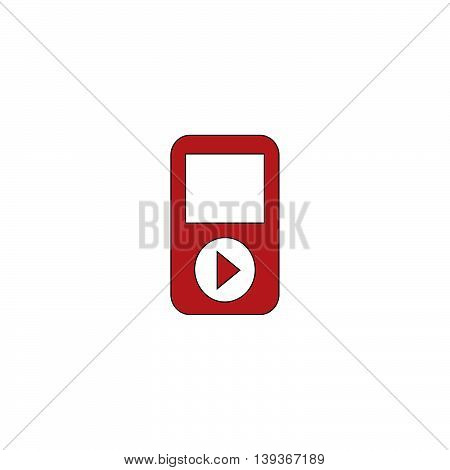 MP3 player. Red flat simple modern illustration icon with stroke. Collection concept vector pictogram for infographic project and logo