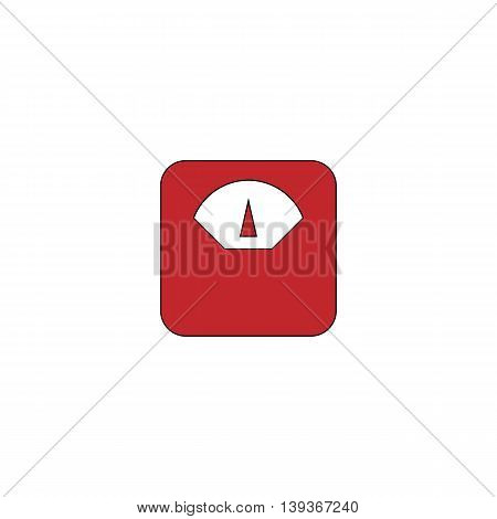 Weighting apparatus. Red flat simple modern illustration icon with stroke. Collection concept vector pictogram for infographic project and logo