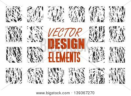 Hand drawn textures and brushes. Artistic collection of design elements. Isolated vector.