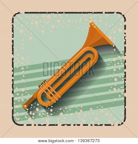 trumpet instrument over retro background isolated icon design, vector illustration  graphic