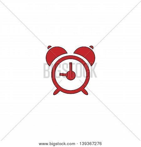 Alarm clock. Red flat simple modern illustration icon with stroke. Collection concept vector pictogram for infographic project and logo