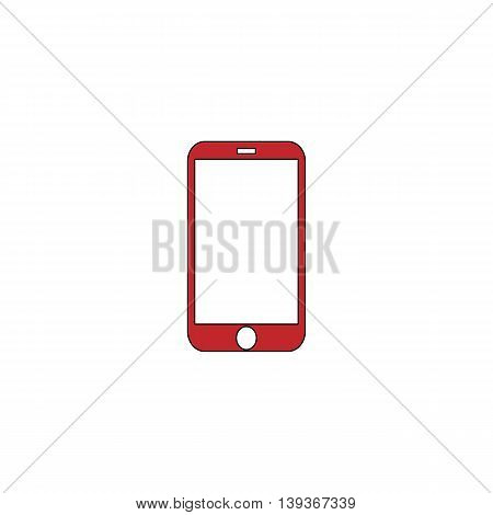 Mobile mini tablet. Red flat simple modern illustration icon with stroke. Collection concept vector pictogram for infographic project and logo