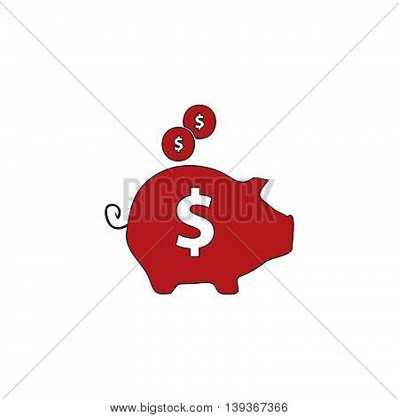 Piggy money bank. Red flat simple modern illustration icon with stroke. Collection concept vector pictogram for infographic project and logo