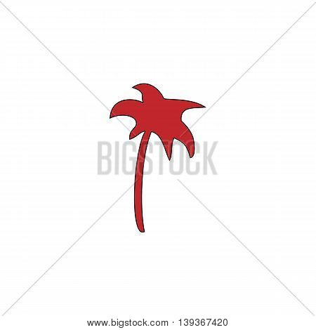 Palm. Red flat simple modern illustration icon with stroke. Collection concept vector pictogram for infographic project and logo