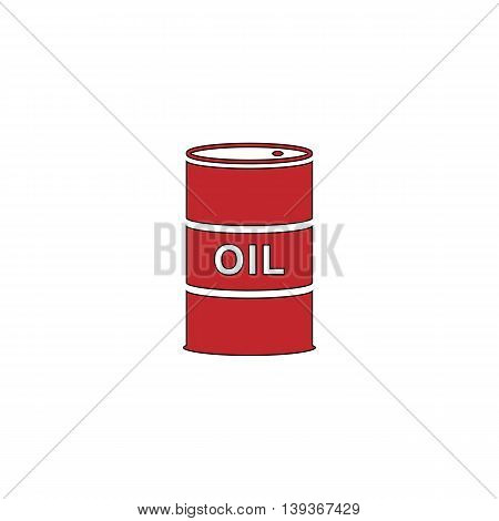 Barrels of oil. Red flat simple modern illustration icon with stroke. Collection concept vector pictogram for infographic project and logo