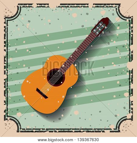 guitar instrument over retro background isolated icon design, vector illustration  graphic
