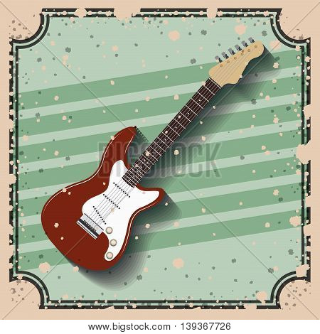 guitar electric over retro background  isolated icon design, vector illustration  graphic