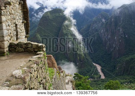 Different view from machu picchu with the river at the bottom