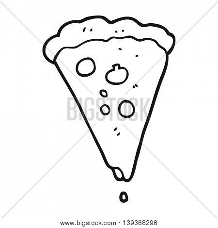 freehand drawn black and white cartoon pizza