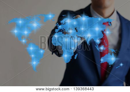Businessman Touching Blue Virtual World Map Connected To Each Other