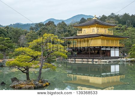 Kinkakuji Temple (The Golden Pavilion) in Kyoto Japan and its surrounding beautiful park