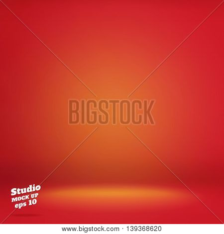 Vector,empty Vivid Lighting Red Studio Room Background ,template Mock Up For Display Or Montage Of P