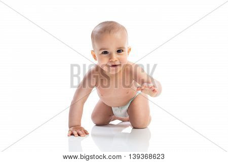 Little baby child crawling isolated, close up