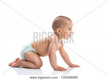 Beautiful Funny Baby Learn How To Crawling