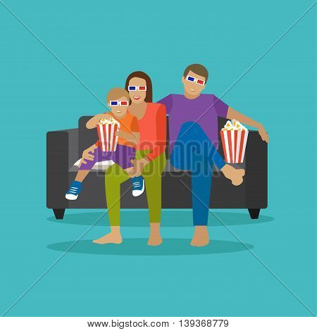 Family eating popcorn and watching movie in home theater. Cinema concept vector illustration in flat style. Movie at home.