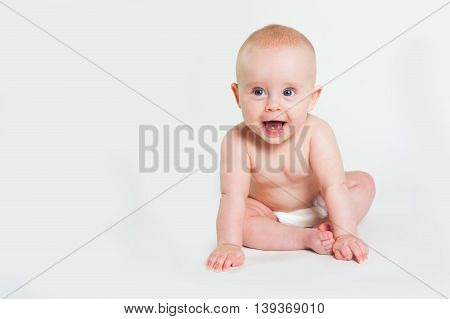 Portrait Of Adorable Baby Girl Isolated On White Background
