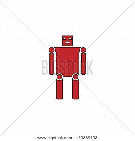 Funny robot. Red flat simple modern illustration icon with stroke. Collection concept vector pictogram for infographic project and logo