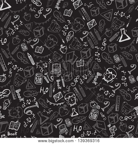 School seamless pattern on chalk board. Back to School. Vector illustration. Modern style banner concept.