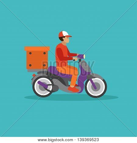 Logistic and delivery courier service concept banner. Warehouse workers. Vector illustration in flat style design. Delivery man on a scooter shipping food orders.