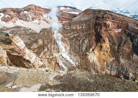 Fumarole. Active Volcano Goreliy On Kamchatka, Russia.