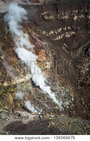 Fumarole. Active Volcano Goreliy On Kamchatka, Russia