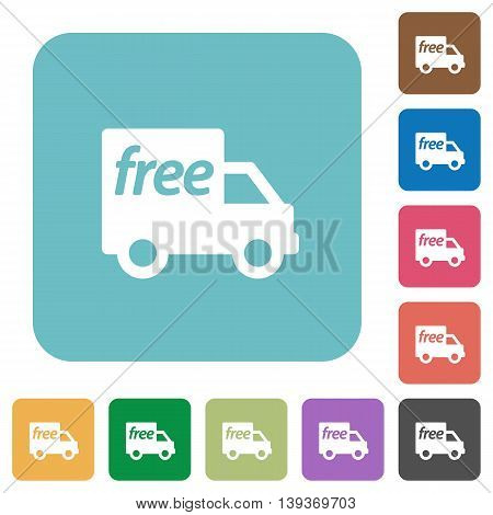 Flat free shipping icons on rounded square color backgrounds.