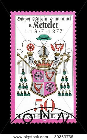 GERMANY - CIRCA 1977 : Cancelled postage stamp printed by Germany, that shows Coat of arms.