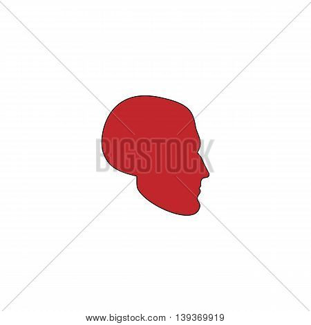 Head. Red flat simple modern illustration icon with stroke. Collection concept vector pictogram for infographic project and logo