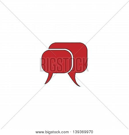 Dialogue quote. Red flat simple modern illustration icon with stroke. Collection concept vector pictogram for infographic project and logo