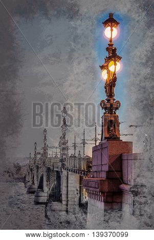Trinity Bridge across the Neva in Saint Petersburg, Russia. Modern painting, background illustration, beautiful picture, creative image.