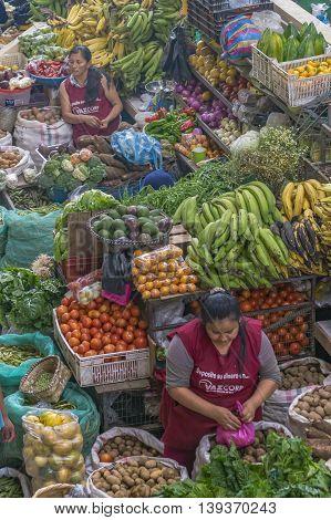 AZUAY, ECUADOR, OCTOBER - 2015 - High angle view of food street market in Azuay province Ecuador.