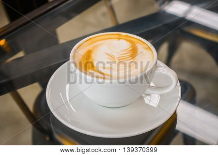 Latte Coffee art on the table