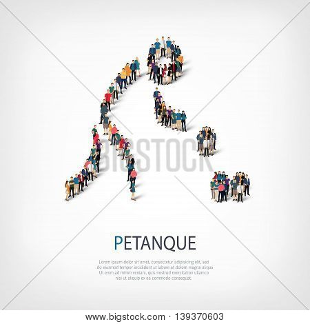 Isometric set of styles, people, sports, petanque , web infographics concept  illustration of a crowded square, flat 3d. Crowd point group forming a predetermined shape. Creative people.  illustration. Stock .3D illustration.