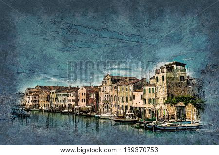 Beautiful colorful image of a canal in Venice. Modern painting, background illustration, beautiful picture, creative image.